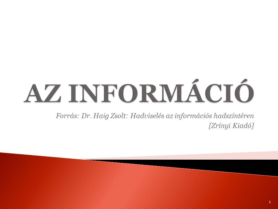 AZ INFORMÁCIÓ Forrás: Dr. Haig Zsolt: Hadviselés az információs hadszíntéren [Zrínyi Kiadó]